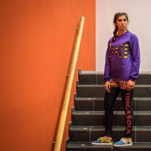 Purple Sweatshirt with Print Infinite