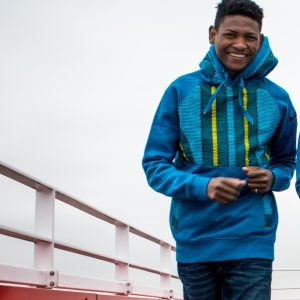 Blue Hoodie with African Print Higher Heights 1
