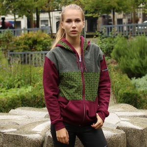 Burgundy Hoodie with African Print Karonga