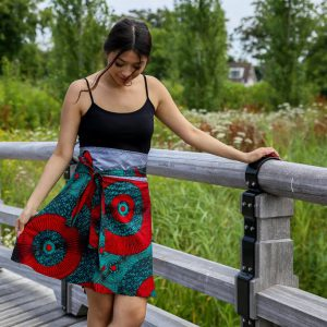 Skirt Zuma with Green Red Print 1