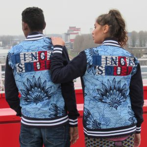 Navy Blue Jacket with Print Nymphaea