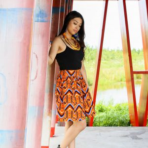 Skirt Quito with Orange Blue Print 1