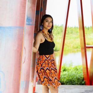 Skirt Quito with Orange Blue Print