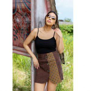 Brown Velvet Skirt with Print Gauteng 1
