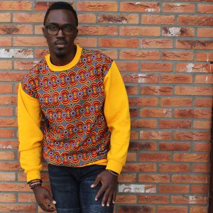 Yellow Sweatshirt with African Print Timbuktu