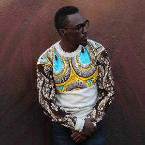 Ecru Sweatshirt with African Print Boomslang