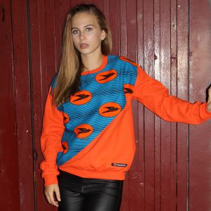 Orange Sweatshirt with African Print High Life