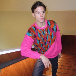 Pink Sweatshirt with African Print Elevation