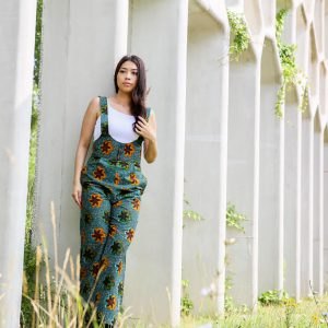 Jumpsuit Liberdade with Green Brown Print